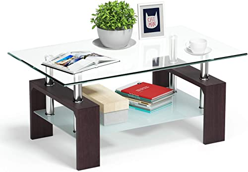 Tangkula Rectangle Glass Coffee Table