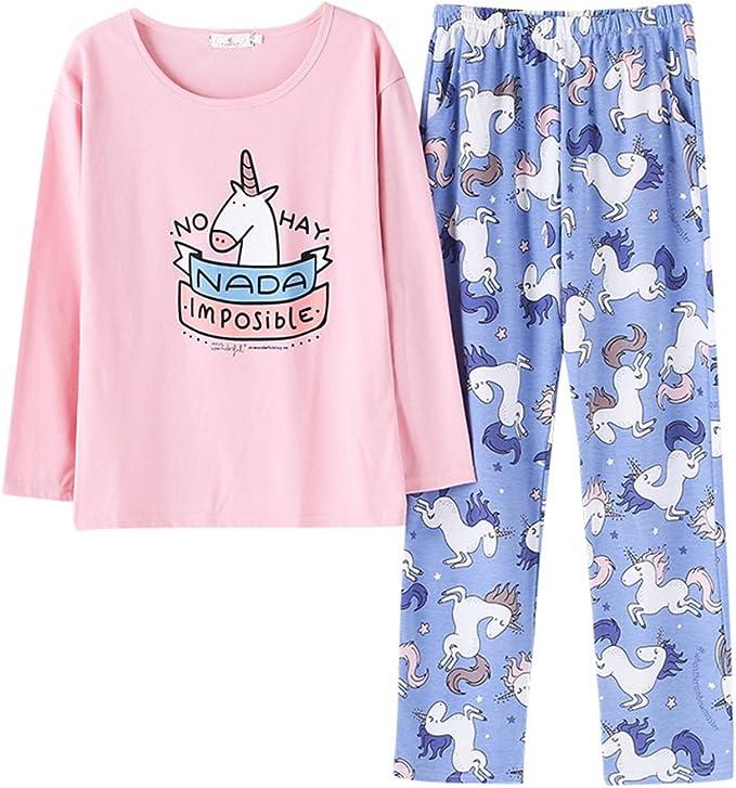 Pijama Algodon Mujer Largo 2 Piezas Unicornio Impreso Pijamas para ...