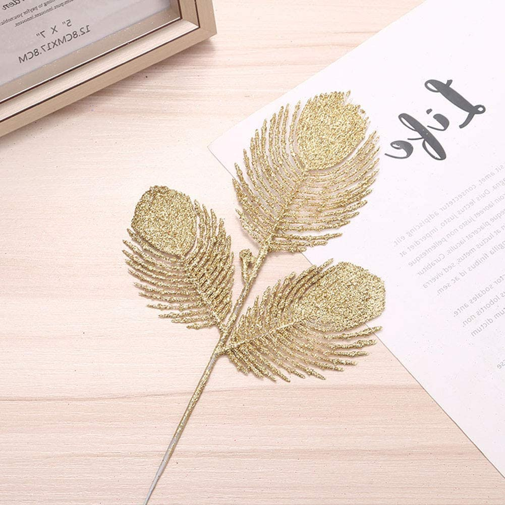 10Pcs 3 Forks Christmas Glitter Phoenix Tail Leaves Tree Branch Xmas Tree Wreath Hanging Ornament for Christmas Home Decoration HERUNNA Artificial Hollow Leaves