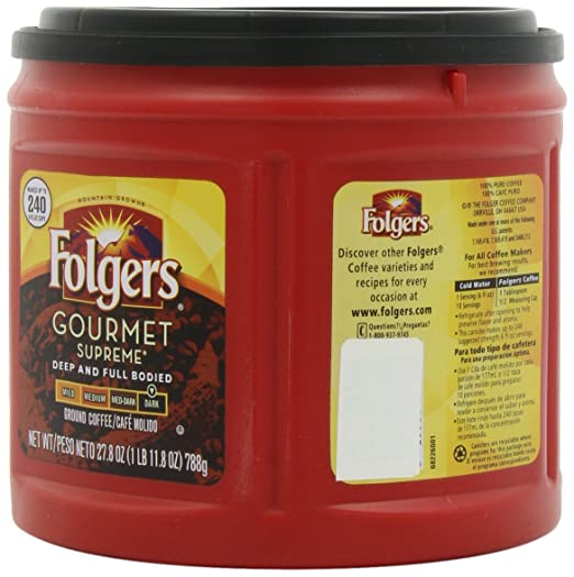 Amazon.com : Folgers Gourmet Supreme Ground Coffee, Deep & Full Bodied, Dark Roast, 27.8-Ounce Packages (Pack of 3) : Grocery & Gourmet Food