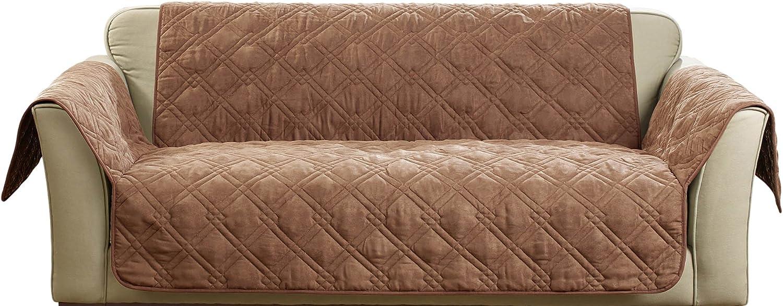 Tan Non Slip Paws Double Diamond Pattern Sure Fit Pet Waterproof Loveseat Cover
