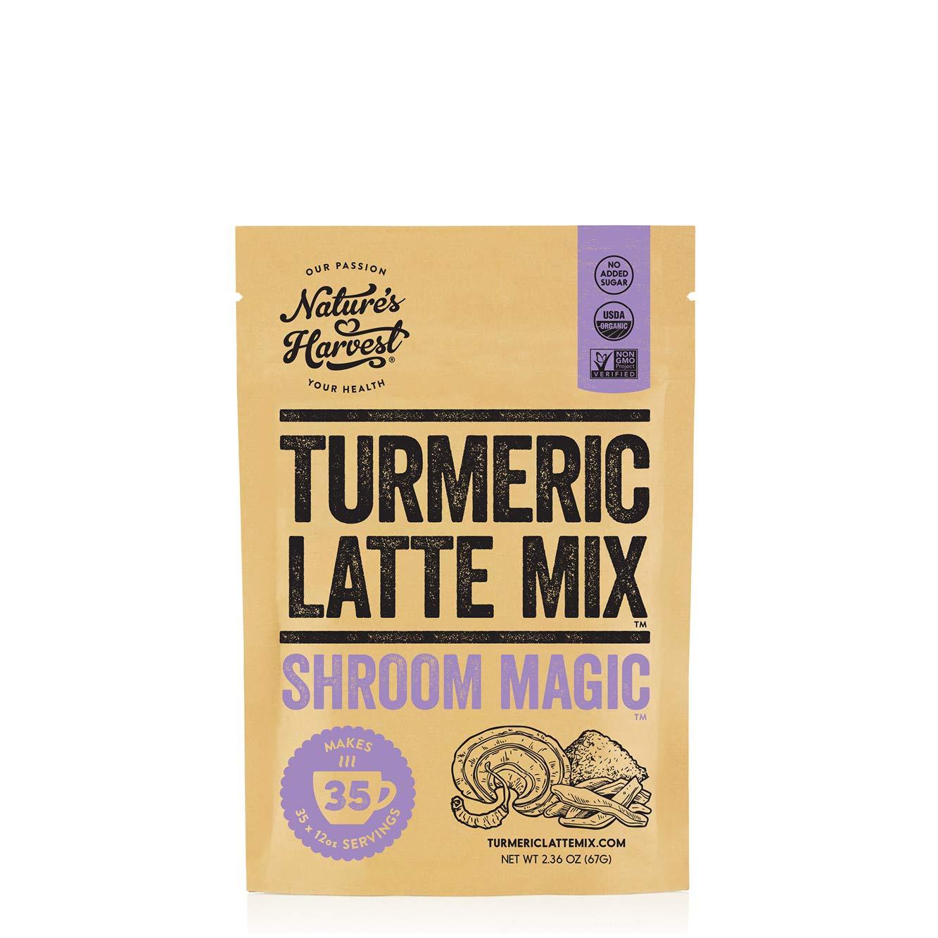 Nature's Harvest Mushroom Powder Turmeric Latte Mix - (35 servings) - Shroom Magic 5 Mushroom Blends with Reishi, Chaga, Cordyceps, Lion's Mane and Turkey Tail - For Hot and Cold Drinks