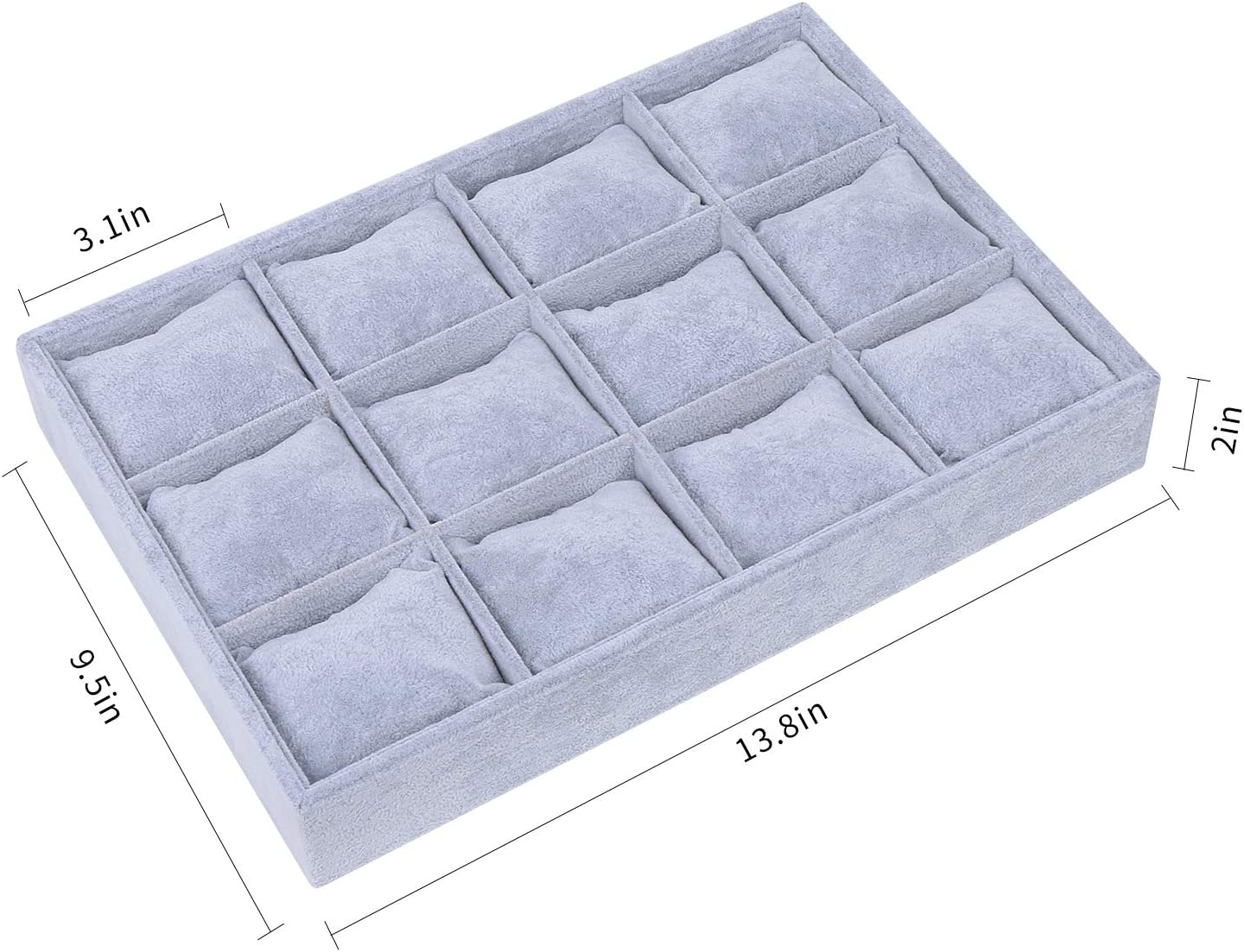 STYLIFING Grey Velvet 12 Grid Jewelry Tray Showcase Removable Display Storage Box Gifts for Girls Women