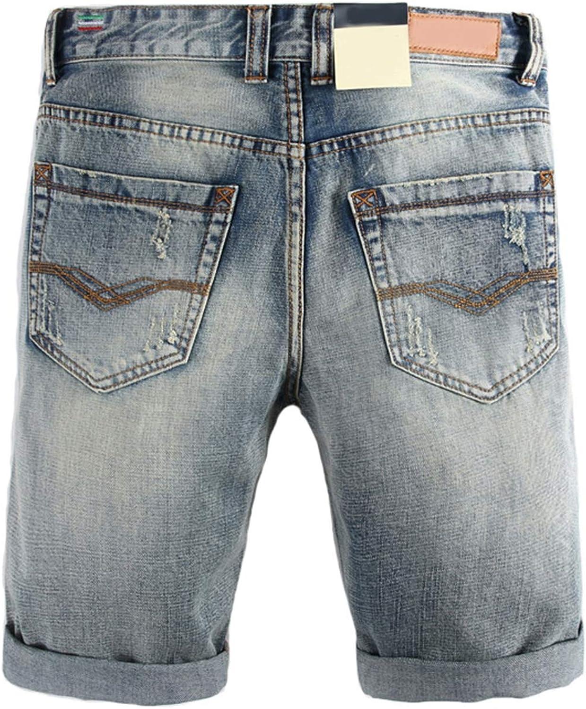 Mildred Jones Summer Mens Jeans Shorts Knee Length Ripped Short Jeans Denim Shorts Cotton Shorts