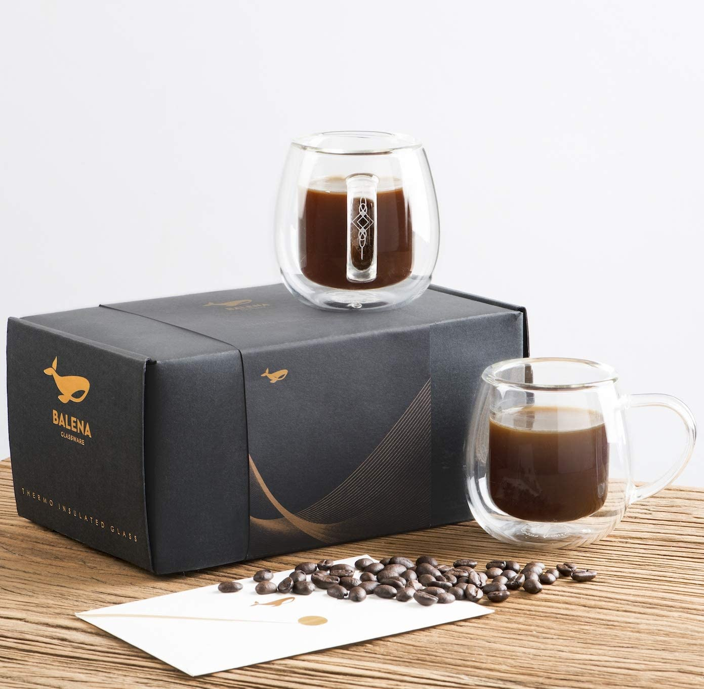 Double Walled Insulated Espresso Glass Mug Unique Gift For Latte Crystal Clear 12 ounce Hot Chocolate Tea Large 12 oz Coffee Mugs by Balena Beer Sets of 2