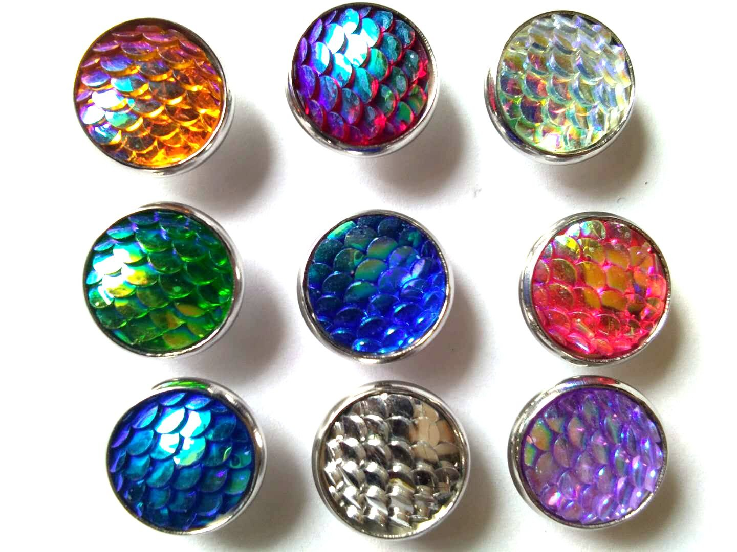 20pairs lot Color Change Ocean fashion Style Mermaid Scales Stud Earrings for Women Girl Gift (mixed colors)