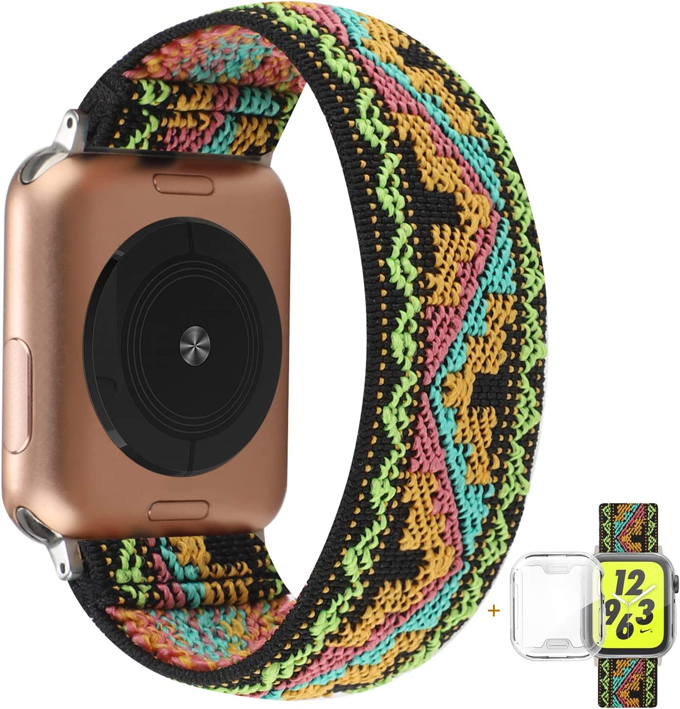 YOSWAN Compatible with Apple Watch Band 38mm 40mm Elastic Soft Nylon Solo Loop Starp Scrunchy Wristband, Women Men Cute Comfy Athletic Stretchy Bracelet Replacement Loop for iWatch SE Series 6 5 4 3 2 1 (Blue Yellow Pink Wave, 38mm/40mm L Size)