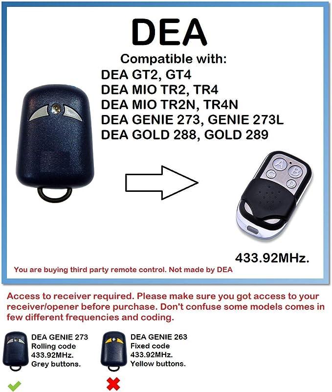 DEA MIO TR2//DEA MIO TR4 Mando a distancia de repuesto//433,92 Mhz c/ódigo de rodillo