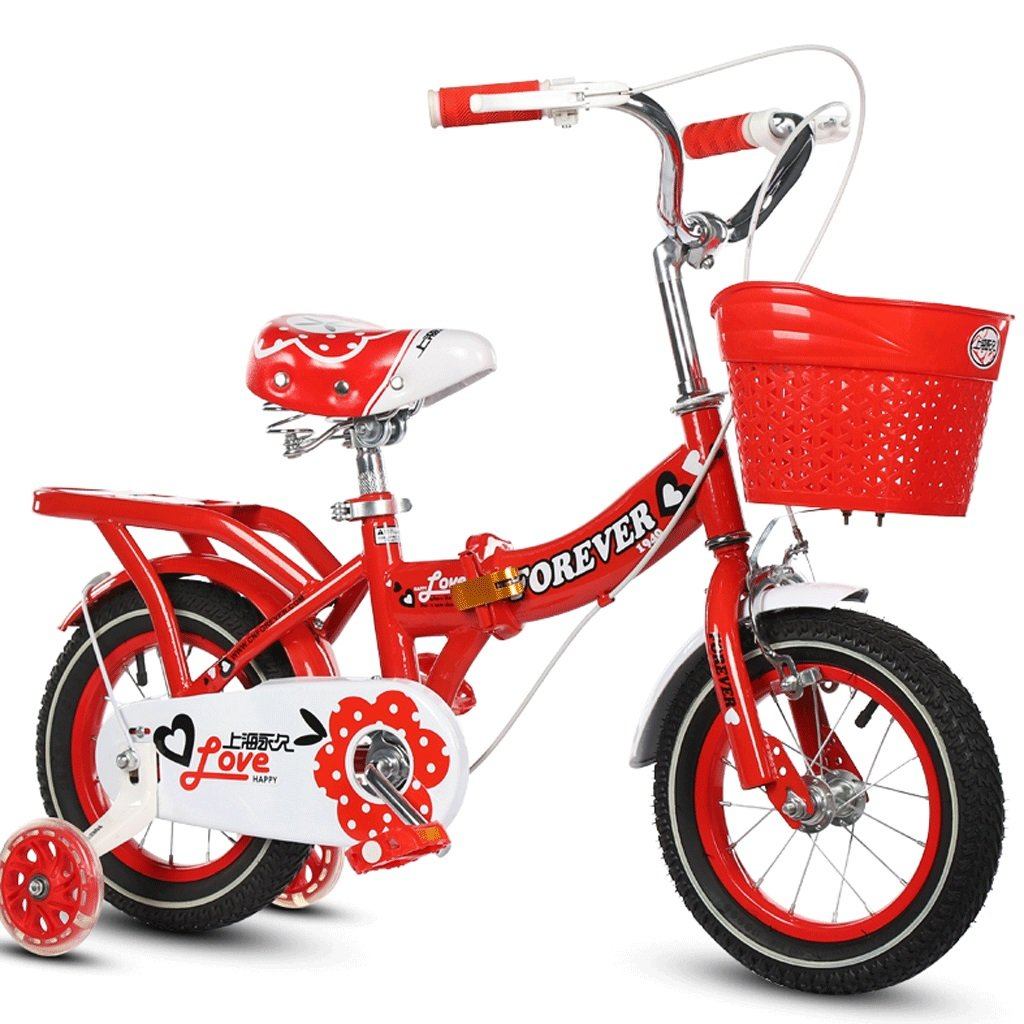 DGF 子供用自転車折りたたみ式ベビーカー女の子プリンセスモデルサイクリングキッズバイク3-10歳 (色 : パープル ぱ゜ぷる, サイズ さいず : 14 inches) B07F1QXFSD 16 inches|赤 赤 16 inches