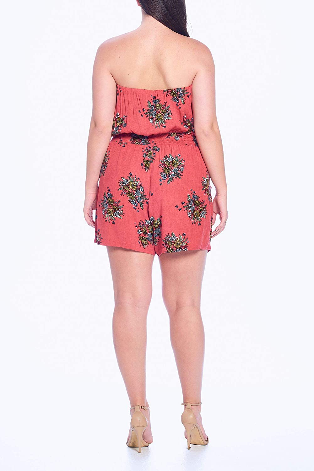 Wild Jasmine Womens Junior Plus Size Floral Print Surplice Short Rompers with Elastic Waist and Adjustable Cami Straps