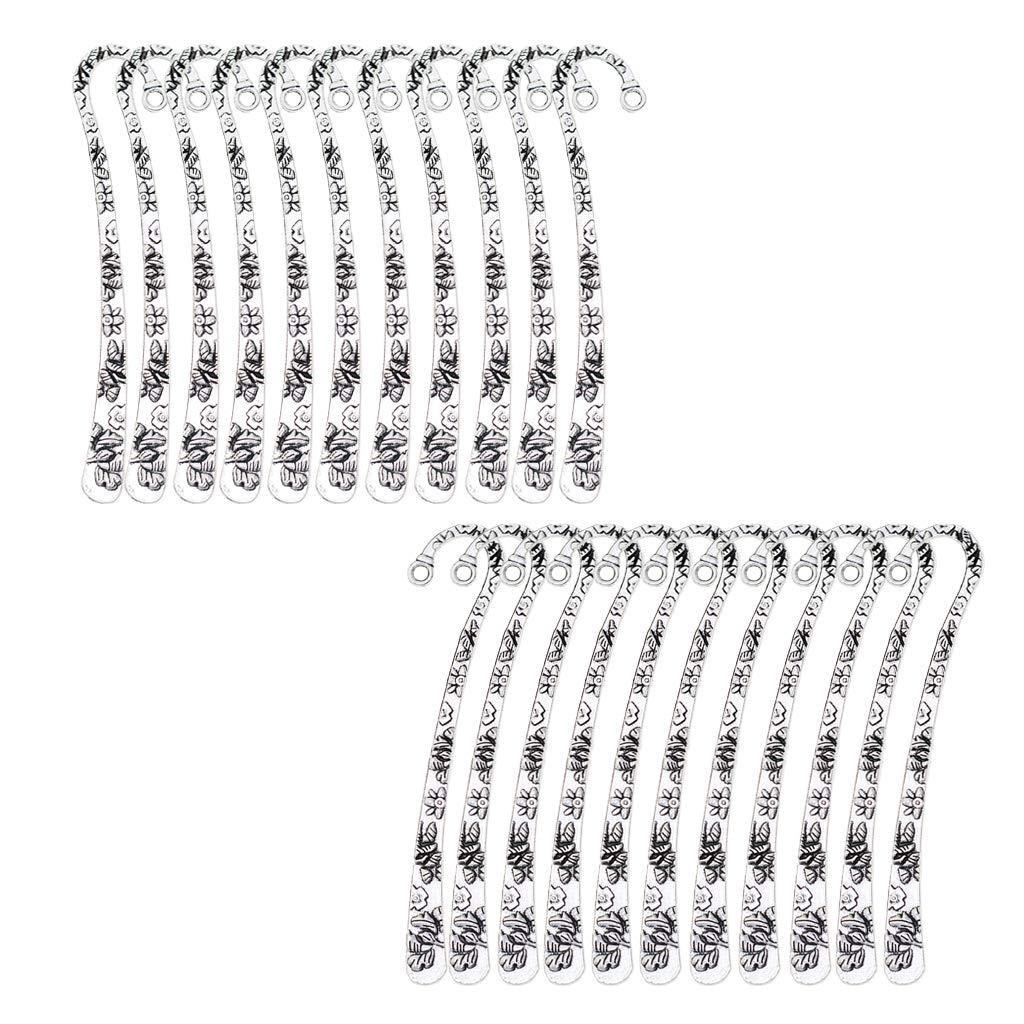 B Baosity 20pcs Marque-pages M/étalliques en Argent Tib/étain Motifs de Fleurs pour Livre Artisanat Breloque Pendentif