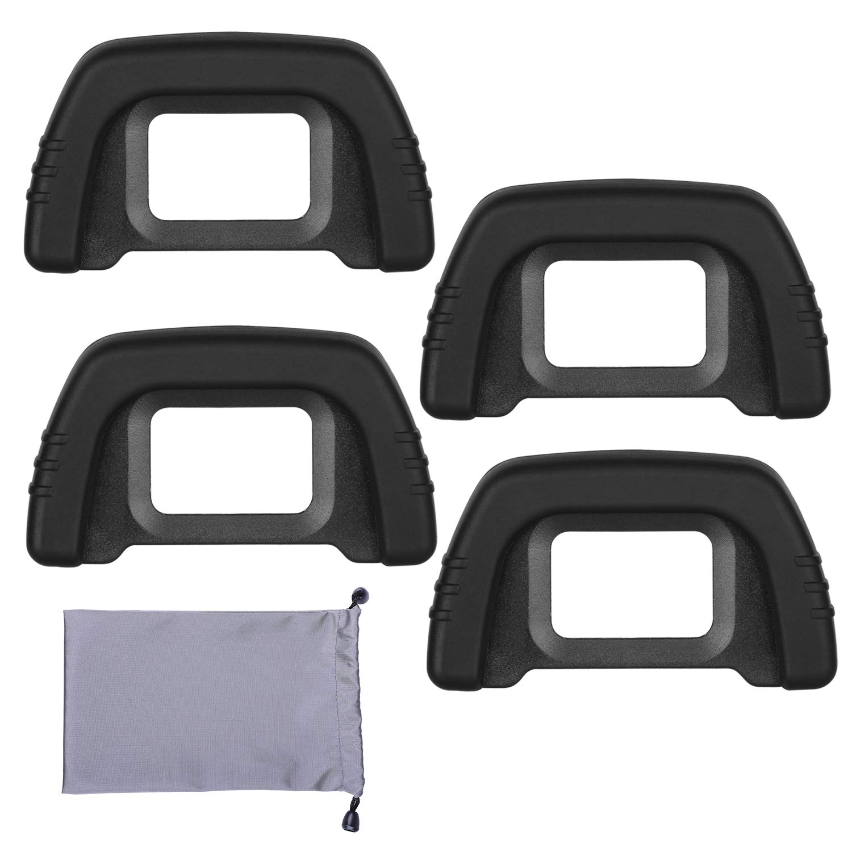 Mwoot 4 Unidades Oculares de Goma para Extensores de Visor Nikon D7000 D600 D80 D90 D40 D50 D70S D90 D200 D300, Eyecup (Eyepiece) para Nikon DK-21