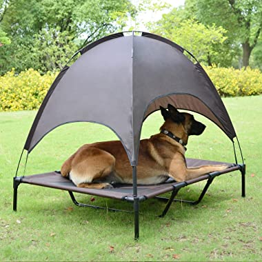 Niubya 48  XLarge Elevated Dog Cot with Canopy, Durable 1680D Oxford Fabric Pet Bed for Indoor and Outdoor Use, Brown & Silver Gray