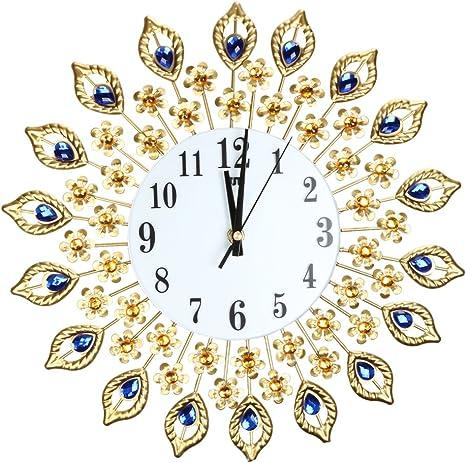 Amazon Com Awakingdemi Luxury Diamond Crystal Leaf Large Wall Clocks Metal Living Room Creative Wall Clock Fashion Silent Wall Watch Home Kitchen