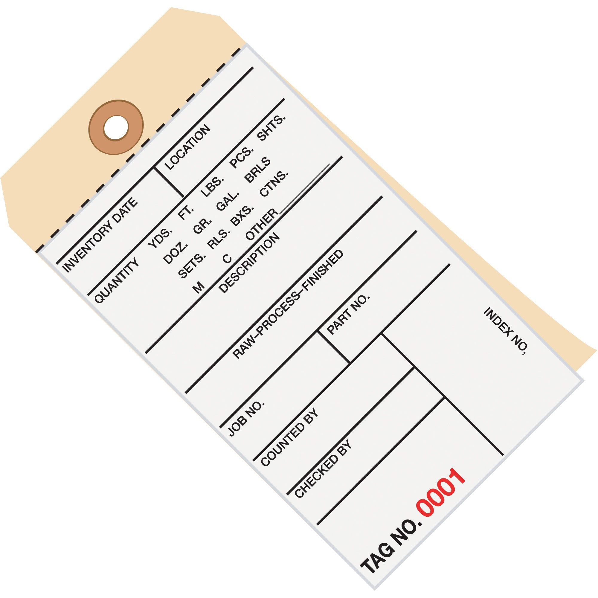 Aviditi G15141 2 Part Carbonless #8 Inventory Tag, 6-1/4'' Length x 3-1/8'' Width, 6500-6999 Numbering, White/Manila (Case of 500)