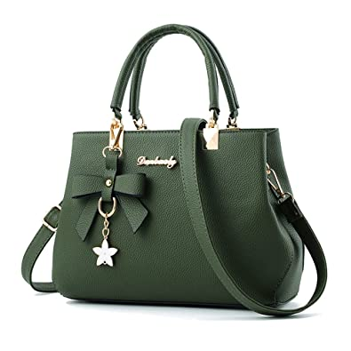 6cf7519c9272 Amazon.com  Designer Womens Bowknot Handbags Satchel Shoulder Bags Female  Casual Tote Bag (army green)  Shoes