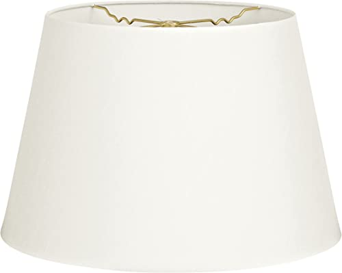 Royal Designs Tapered Shallow Drum Hardback Lamp Shade, White, 13 x 18 x 12