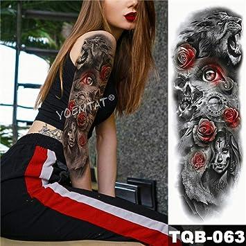 Tatuaje de brazo grande Ola Tatuaje pegatina Lily Peacock Man Full ...