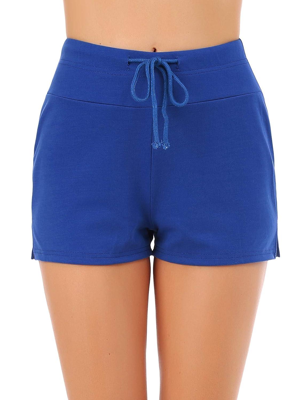 FISOUL Women Adjustable Drawstring Swim Shorts Slit Swimwear Beach Board Shorts