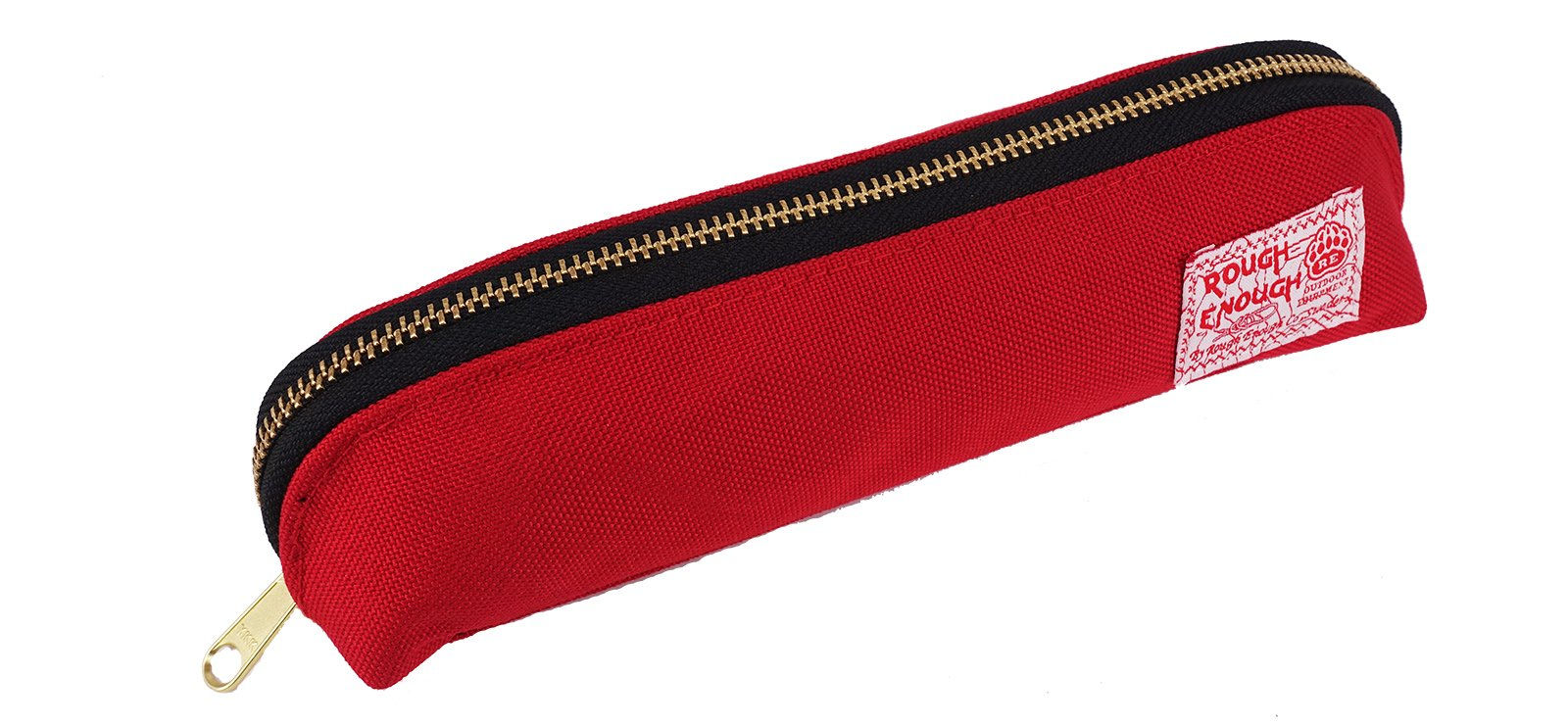 Rough Enough Multi-purpose CORDURA Polyester Long Slim Classic Portable Pencil Case Pouch Holder Organizer with YKK Gold Zipper for Stationary Cosmetics Accessories Kids Girls Students at Schools Red
