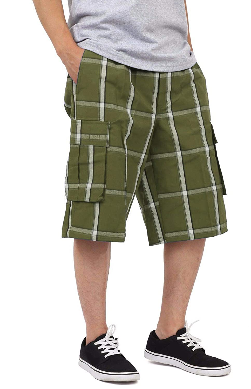 Shaka Wear Men's Relaxed Fit Plaid Cargo Shorts S~5XL SP17