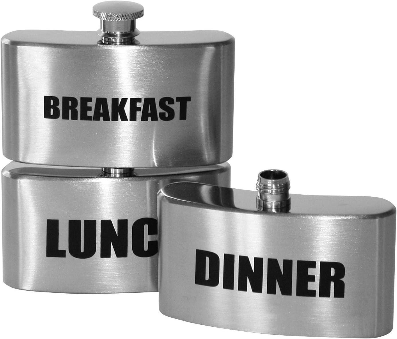 3 Fach Flachmann Abendessen Mittagessen Triple Hip Flask Vesper Fr/ühst/ück