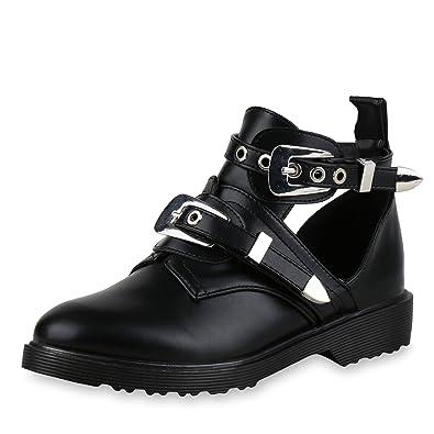 cf468ea08bccc1 SCARPE VITA Damen Stiefeletten Ankle Boots Cut Out Booties Leder-Optik  Schuhe 166105 Schwarz 36