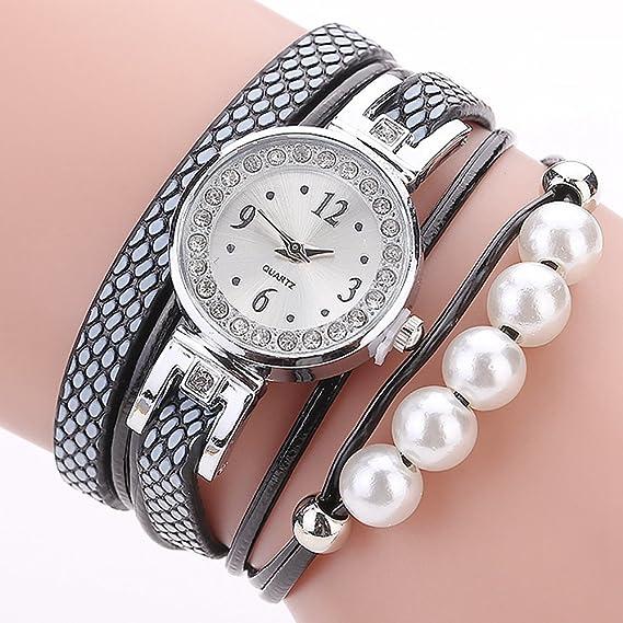 Pearl Rhinestone reloj de pulsera, Cooki analógico Fashion limpieza Lady relojes relojes para mujeres en