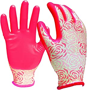 DIGZ 7601-26 Stretch Knit Garden Gloves with Nitrile Coating, Small, Pink