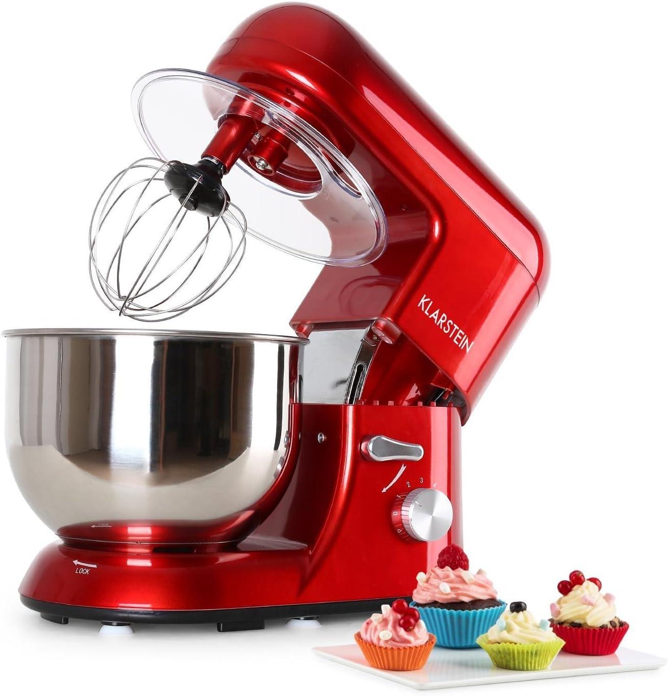 Klarstein TK2-Mix8-R Bella Rossa - Robot de cocina, 1200W, 5L, color rojo