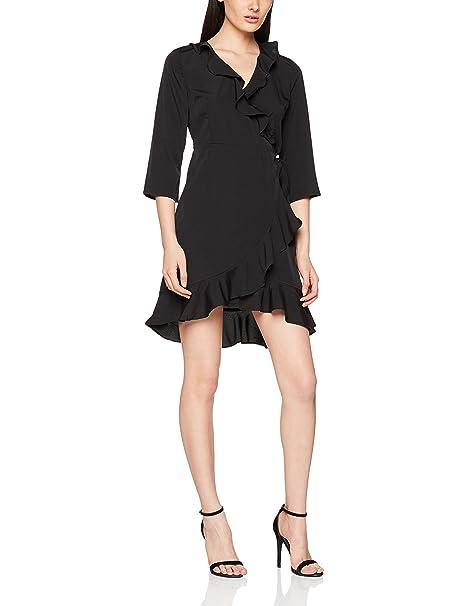 Vero Moda Vmhenna 3/4 Wrap Dress Noos, Vestido para Mujer, Negro (