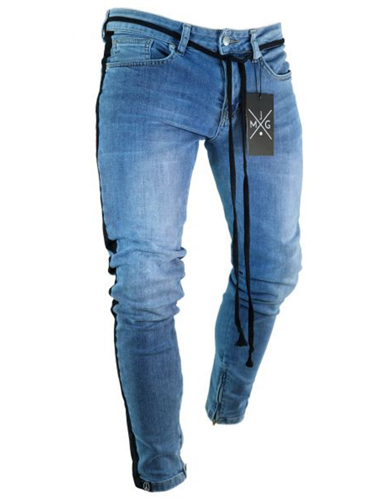 Bestgift Men's Stretch Side Stripe Washed Jeans XS Dark Blue
