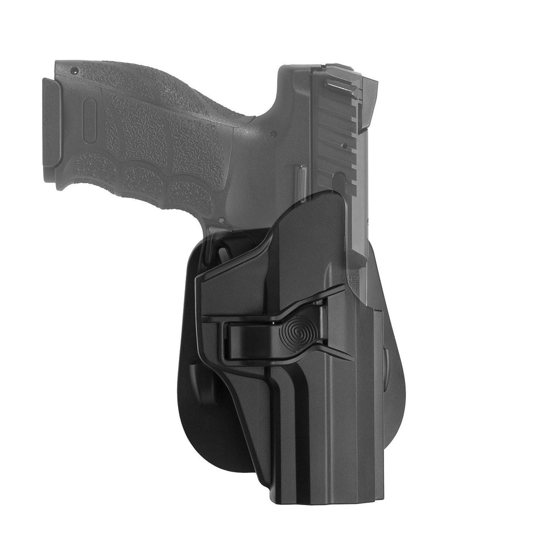 efluky Holster Paddle Liberación del Gatillo y Ángulo de Inclinación Ajustable para H&K & USP Compact 9mm/40 Tamaño Completo - Molde de Polímero Moldeado por Inyección - Negro