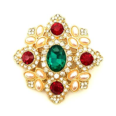 1d41ba778 Image Unavailable. Image not available for. Color: DREAMLANDSALES Byzantine  Vintage Imitated Pearls Cluster Red Green Stone Cross Brooches Pins