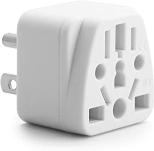 US Travel Plug Adapter EU/UK/AU/IN/CN/JP/Asia/Italy/Brazil to USA Type B, Unidapt Grounded USA Wall Plug, EU to US Travel Adaptor and Converter, Power Outlet Wall Charger (1)