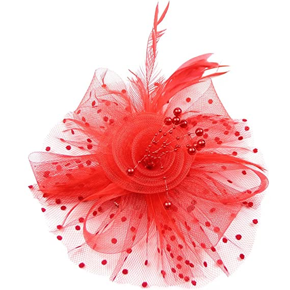 DJHbuy Fascinator Feather Dot Net Yarn Beads Flower Hair Clip Hoop Bridal Sinamay Party Wedding Hair Bands(Grey): Amazon.co.uk: Clothing