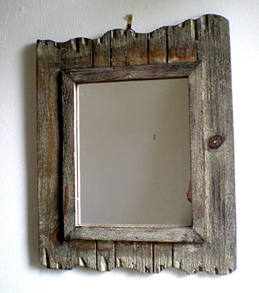 wood wall mirror. Rustic Wooden Wall Mirror ~ Shabby Chic: Amazon.co.uk: Kitchen \u0026 Home Wood A