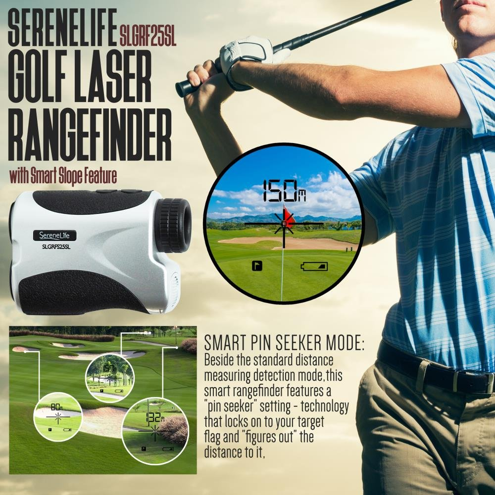 SereneLife Premium Slope Golf Laser Rangefinder with Pinsensor - Digital Golf Distance Meter - Compact Design -With Case by SereneLife (Image #5)