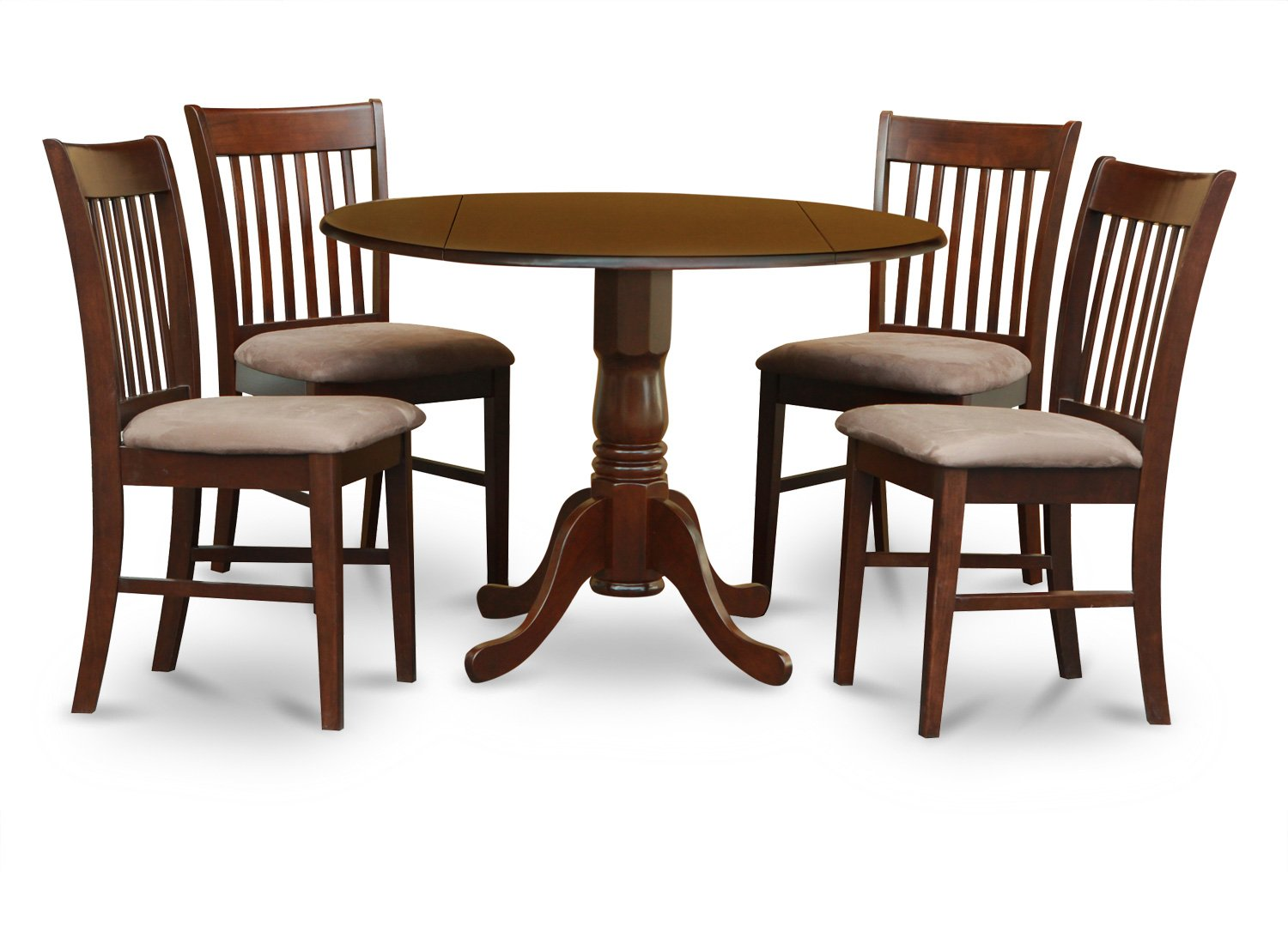 East West Furniture 5-Piece Kitchen Table Set, Mahogany Finish, Microfiber Upholstered Seat,