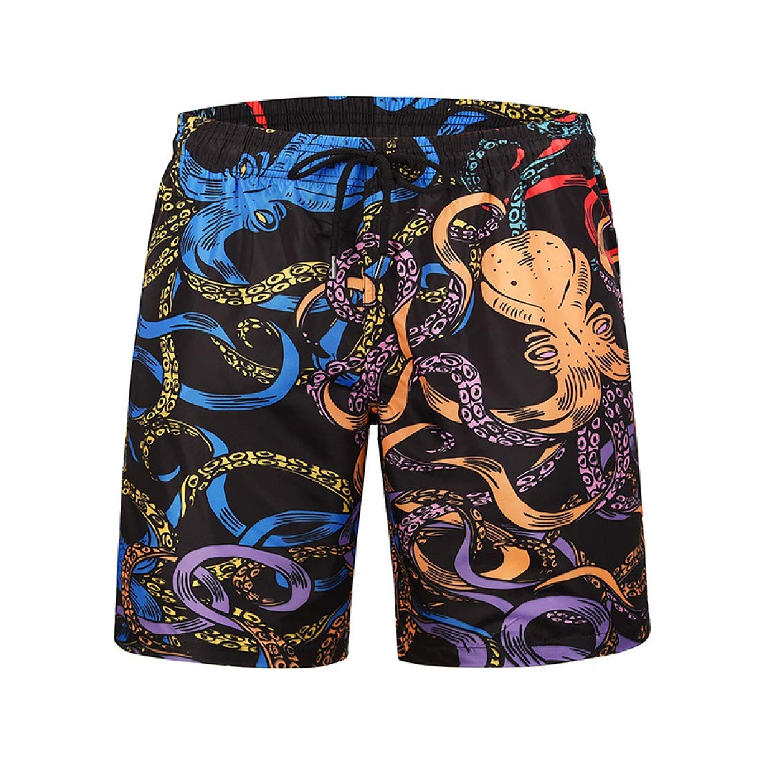 Men Hawaiian Shorts Summer 3D Printed Button Down Aloha Short