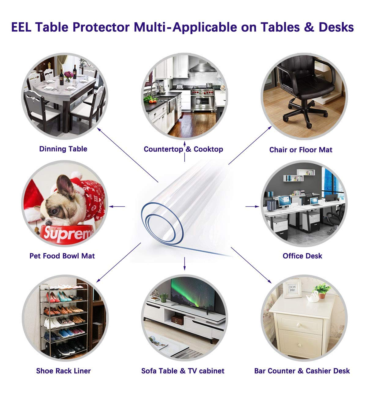 Clear Plastic Dining Table Protector Tablelcloth Desk Pad Mat Wooden Furniture Coffee Glass Side Table Cloth Table Top Protection Countertop Cover Waterproof Rectangular PVC Vinyl 18 x 36 Inches 2PCS