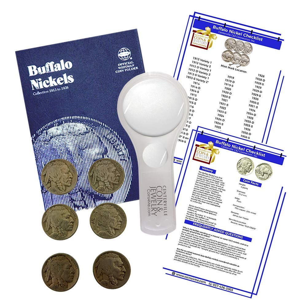 Buffalo Nickel Starter Collection Kit, Whitman [9008] Buffalo Nickel Folder 1913-1938, Six Buffalo/Indian Nickels, Magnifier and Checklist, (9 Items) Great Start for Beginner Collectors