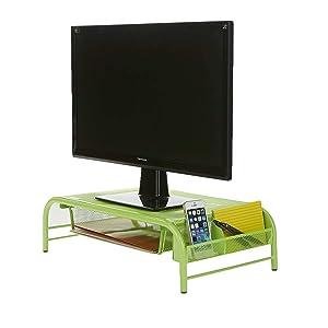 Mind Reader MESHMONSTA-GRN Metal Mesh Desk Drawer, Desktop Monitor Stand Organizer, Green