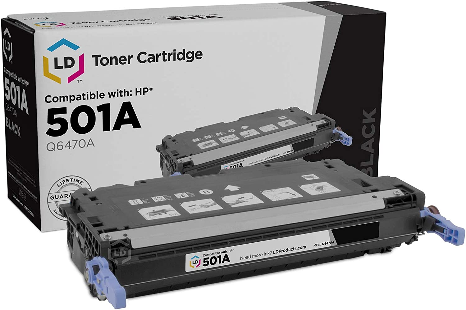 LD Remanufactured Toner Cartridge Replacement for HP 501A Q6470A (Black)
