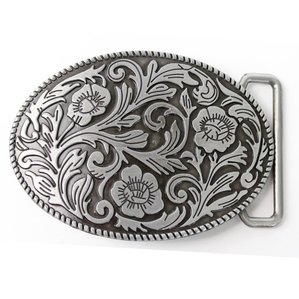 Aeon hum Antique Engraved Flower Solid Metal Belt Buckle Men Women Western Cowboy