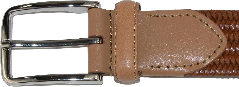 42 Brown Aquarius Mens Stretch Leather Braided Belt