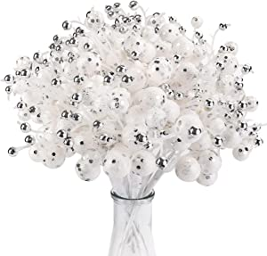 TELDRASSIL 10-Pack Silver White Artificial Glittery Berry Picks for Christmas Tree Wreath Garland Wedding Party Decor