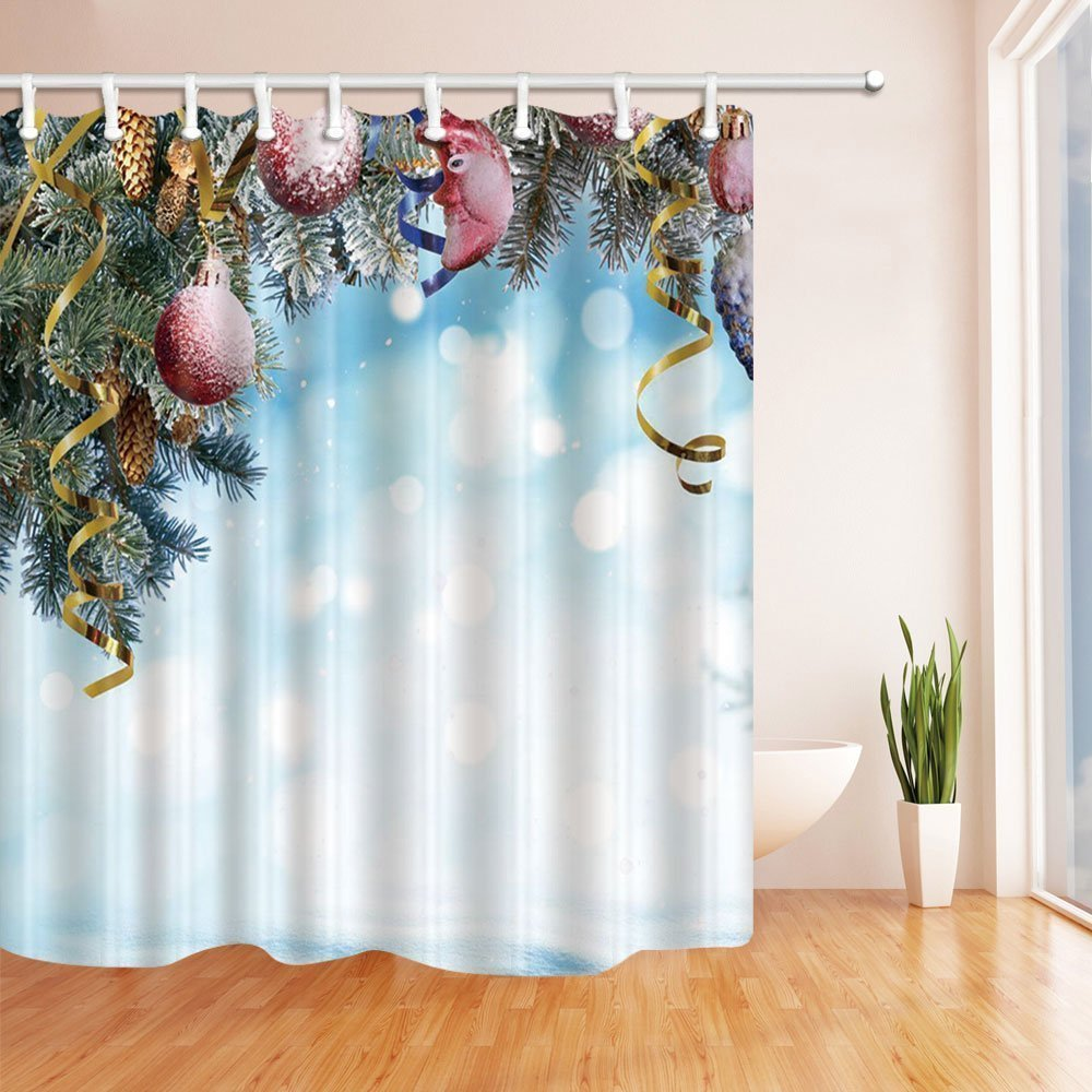 Weihnachtsduschvorhänge für Bad gefrorene Kiefern-Nadeln und ...