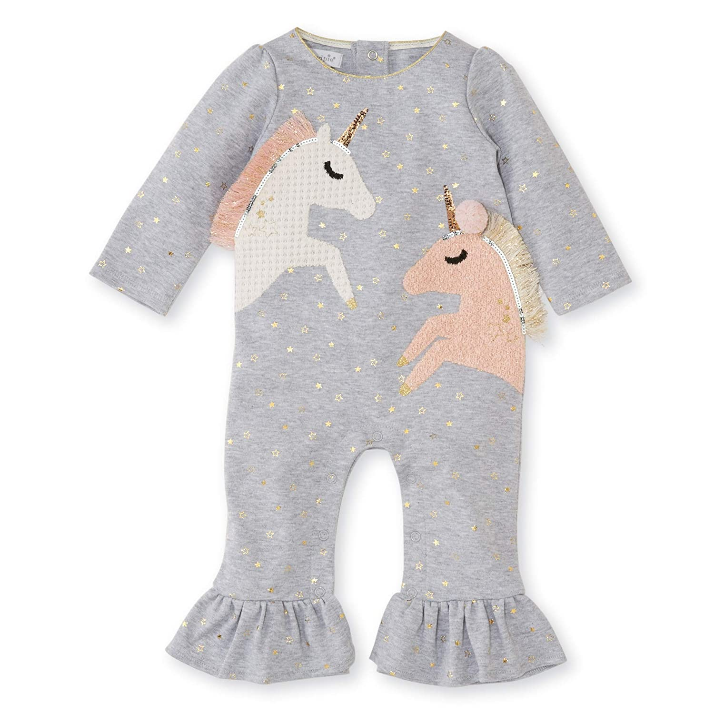 4163643f3c4eb8 Amazon.com: Mud Pie Baby Girl's Unicorn Ruffle One-Piece Playwear Set  (Infant): Clothing