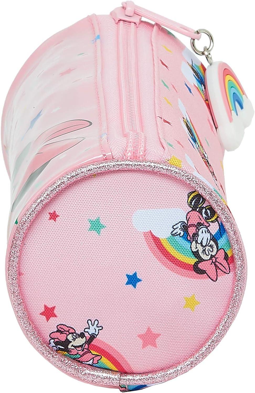 Safta Estuche Redondo Escolar de Minnie Mouse Rainbow 200x70mm
